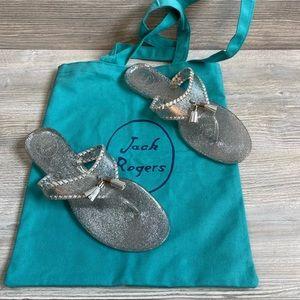 Jack Rogers Alana jelly silver flip flops size 9